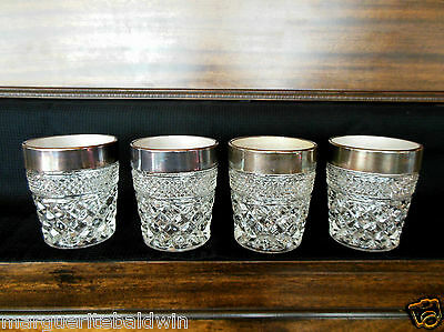 "Anchor Hocking Glass 4 Clear Silver Rim Wexford 10 oz ""Old Fashioned"" Tumblers"