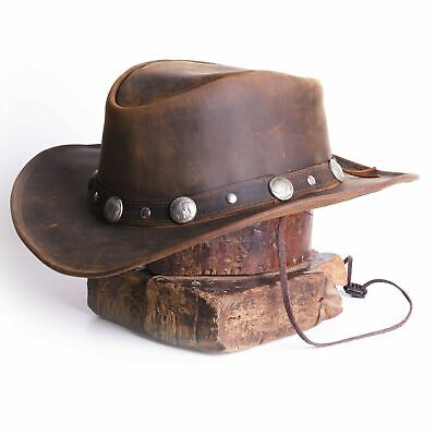 Leather Cowboy Western Style Hat Brown With Conchos Leather Band