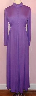 Vtg 70s EMMA DOMB Grape Purple Jersey Sparkly Maxi Dress L