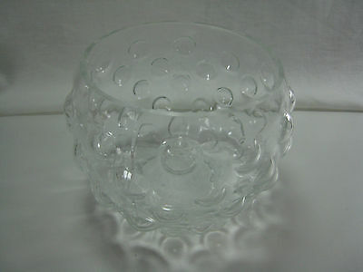 """Vintage Clear Bubble Glass Bubble Bowl Cut Edge 4 """" Tall Fish Candy Candle"""