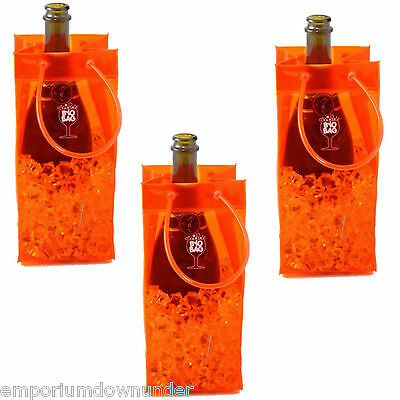 BYO Bag Orange x3 Beer Wine Drink Bottle Chiller Cooler Carry Ice Party Gift NEW