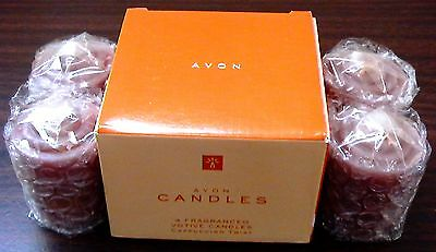 MIB 2000 VINTAGE AVON FALL VOTIVE CANDLES W/ CAPPUCCINO COFFEE FRAGRANCE SMELL!