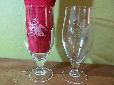 Set of 2 Vintage Anheiser Busch Beer Glasses Eagle A Goblets  EUC Collectible