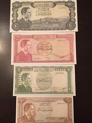 Reproduction Set Jordan King Hussein 1959-1970s Half, 1, 5,10 Dinars Paper Money