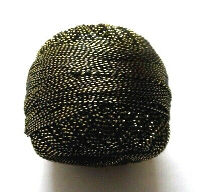 Size 20 - Black with Gold Lurex Cotton Yarn Thread Crochet Embroidery Knitting
