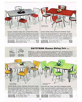 1954  Ad Chrome Dining Sets, Daystrom, Arvin, Lee, Green Yellow Red  3 Pages