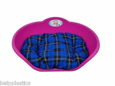 SMALL Plastic FUCHSIA PINK Pet Bed With BLUE TARTAN Cushion Dog Cat Sleep Basket