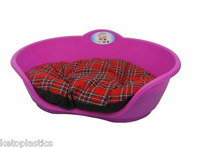 SMALL Plastic FUCHSIA PINK Pet Bed With RED TARTAN Cushion Dog Cat Sleep Basket