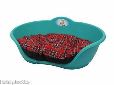 SMALL Plastic TEAL AQUA GREEN Pet Bed RED TARTAN Cushion Dog Cat Sleep Basket