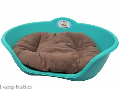 SMALL Plastic TEAL AQUA GREEN Pet Bed BROWN Cushion Dog Cat Sleep Basket Dogs