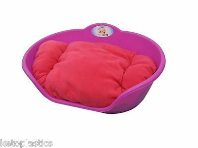 SMALL Plastic FUCHSIA PINK Pet Bed With PINK Cushion Dog Cat Sleep Basket Dogs
