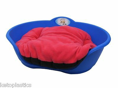 SMALL Plastic ROYAL BLUE Pet Bed With PINK Cushion Dog Cat Sleep Basket Dogs