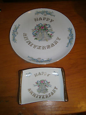 Vintage Lefton China Happy Anniversary Plate & Candy Tray No Year #5509 & #5510