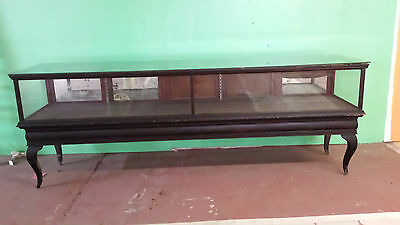 Antique  1900's  Mahogany (or Oak) and Glass  Display  Case  Cabinet   10' Long!