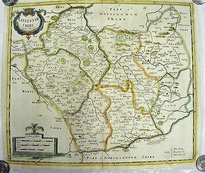 LEICESTERSHIRE, ROBERT MORDEN Original Antique Hand Colored County Map ca. 1700