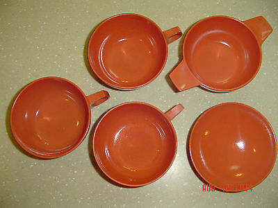 Lot Of 5 DURAWEAR #110 Bowl Coffee Cups #3 #5 Dish Dishes Melmac Melamine Salmon