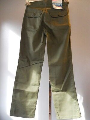 Nos Vintage 1977 Mr Leggs Olive Green Army Jeans Retro Pants Youth Boys Kids 14