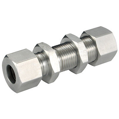 316 Stainless Steel Compression Fittings - 12Mm Od Equal Straight Bulkhead (L) 1