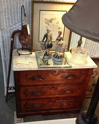 1880's Small Antique Victorian Marble Top Mahogany Three Drawer Dresser