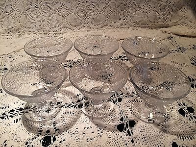 Vintage Clear Crackle textured glass sherbet ice cream dessert footed bowl set 6