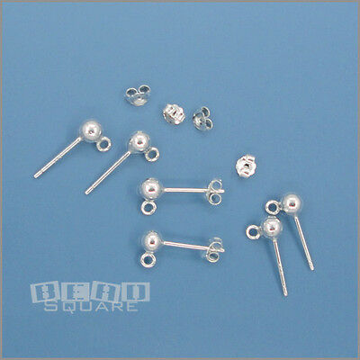 6 Sterling Silver 4mm Round Ball Loop Open Ring Stud Post Earrings Clutch #33501
