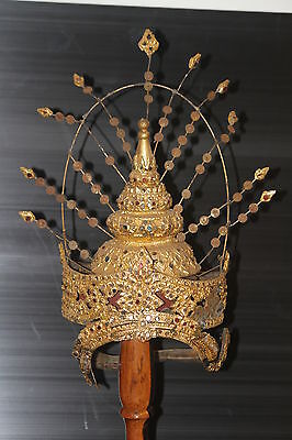 Crown old vintage gold gilded filigree Thai ceremonial head hat jewel gilt mask