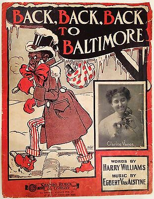 "1904 BLACK AMERICANA SHEET MUSIC ""BACK, BACK, BACK TO BALTIMORE"" COVER ONLY"