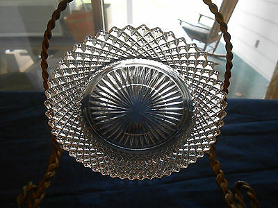 Set of 7 Anchor Hocking Miss America Clear Glass Saucers