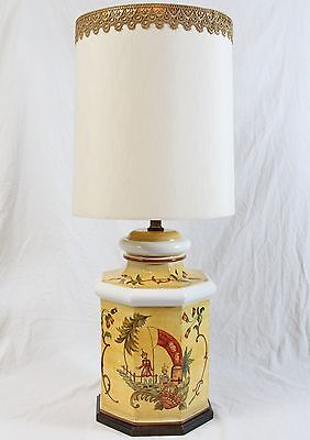 Frederick Cooper Hand Painted Ceramic Ginger Jar Table Lamp Vintage Shade Asian