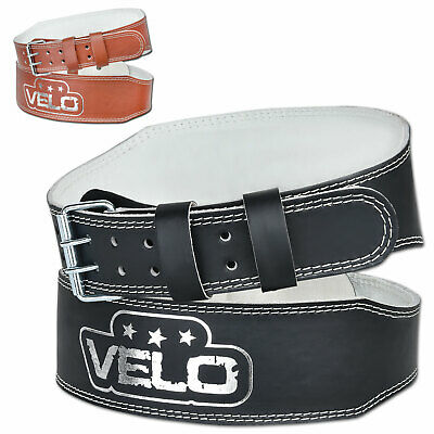 "VELO Leather Weight Lifting 4"" Belt Gym Power Back Support Fitness Training"
