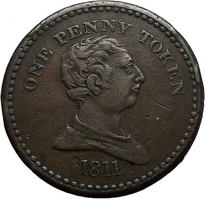 1811 GEORGE III King of England Somerset Bristol Trade Token Penny Coin i45082