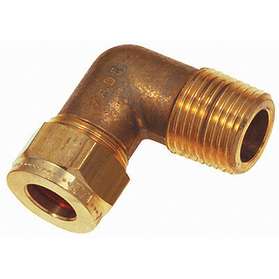 """Wade Brass Compression Fittings - 1/2"""" Od X 1/2"""" Bspp Male Stud Elbow 9-00668"""