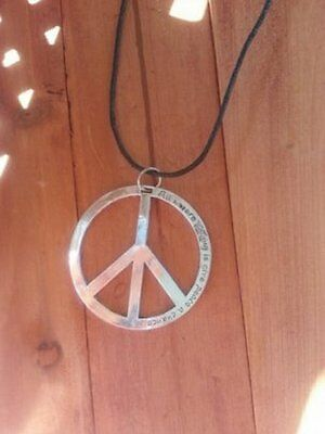 Large PEACE SIGN Necklace - Hippy Boho Pagan Witch