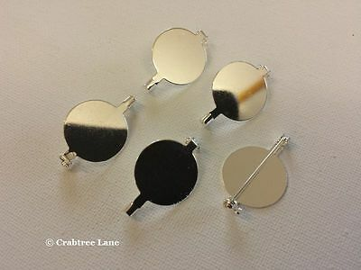 Brooch Backs - 20mm Silver Plated - Round - Set x 15 - Craft Jewellery Lock Pin