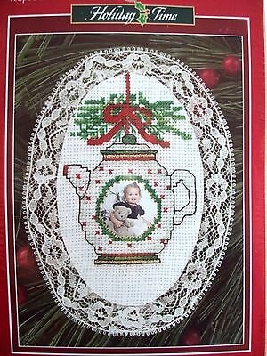 Holiday Time Christmas Laced Ornament Teapot Counted Cross Stitch Kit