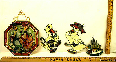 Vintage Stained Glass Suncatcher Window Ornaments Duck Themes Art Glass Sweet!