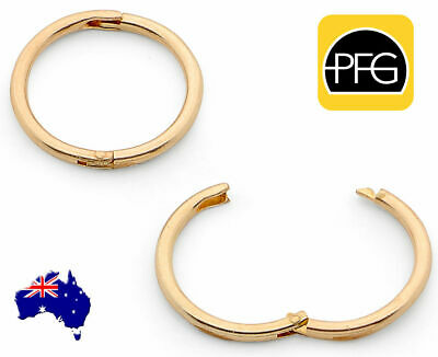 New 22ct Gold Plated 925 Sterling Silver Sleepers Hinged Hoop All Day Earring