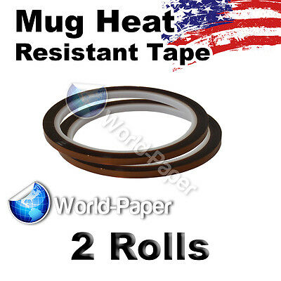 NEW SUBLIMATION HEAT TRANSFER TAPE DIGITAL MUG PRESS 3/8'x 36 yds 2 ROLLS