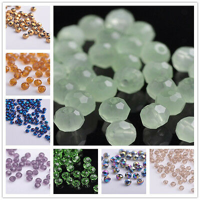 100pcs 4mm Round Ball Crystal Glass Faceted Spacer Loose Beads Jewelry Findings