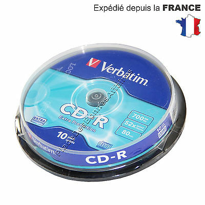 Lot de 10 CD R Vierge Verbatim 52X 700 Mo Extra Protection NEUF PROMOTION !!!
