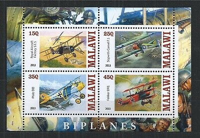 Malawi 2013 Biplanes Aircraft Mini Sheet ** Mnh