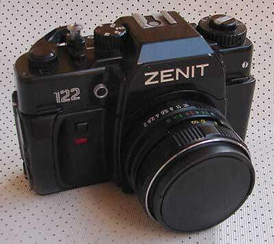 Soviet Russian Zenit-122 35mm SLR camera with MC Helios-44M-6 2/58mm lens EXC!