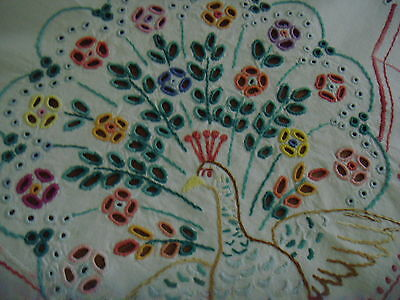 Vintage Large Linen Hand Embroidered  Tablecloth Peacocks Butterfly Birds Lace