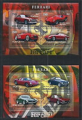 Cote D Ivoire 2013 Ferrari Cars 2X Mini Sheet ** Mnh