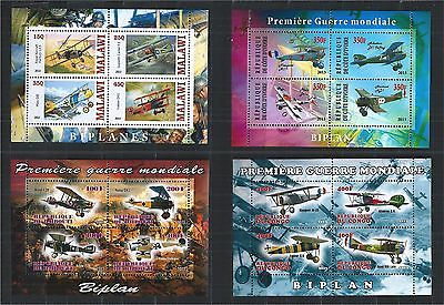 Djibouti Cote Malawi Congo 2013 Plane Aviation World War I ** 4X Mini Sheet