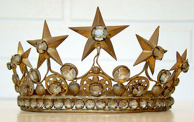 ANTIQUE 1800's TIARA CROWN for MARY ICON STATUE Reliquary CATHOLIC CONVENT Relic