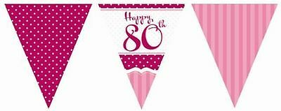80Th Birthday Party Perfectly Pink Flag Bunting Decoration 11 Flags 12Ft