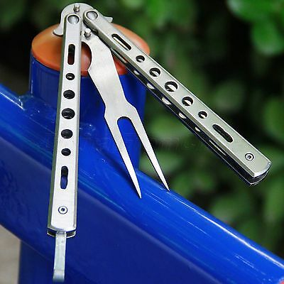 Silver Metal BUTTERFLY Knife Practice BALISONG Trainer Training Steel Fork Tool