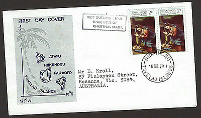 Tokelau 1970 Christmas on addressed official first day cover