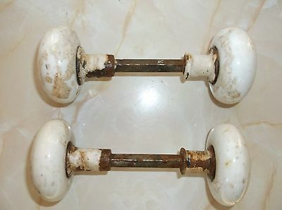 Vintage White Porcelain Doorknobs 4 door knobs (2 sets)